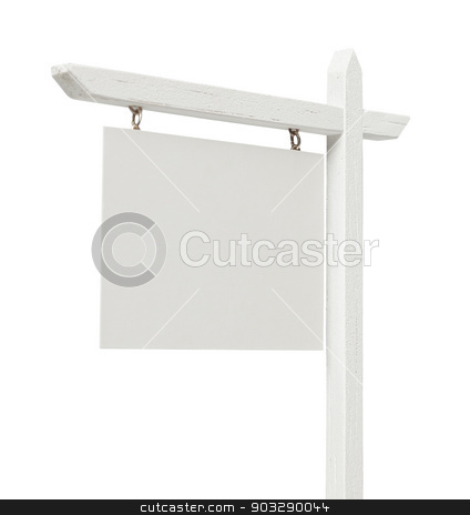 Blank Real Estate Sign on White with Clipping Path stock photo, Blank Real Estate Sign Isolated on a White Background with Clipping Path. by Andy Dean