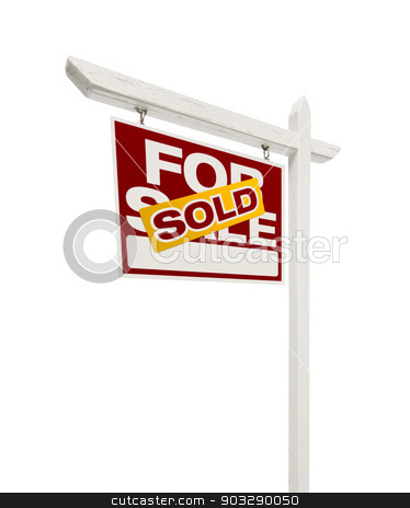 Sold For Sale Real Estate Sign with Clipping Path stock photo, Left Facing Sold For Sale Real Estate Sign with Clipping Path Isolated on White. by Andy Dean