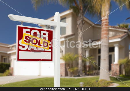 Sold Home For Sale Sign in Front of New House stock photo, Sold Home For Sale Real Estate Sign in Front of Beautiful New House. by Andy Dean