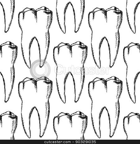 Sketch teeth, vector vintage seamless pattern