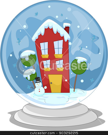 Snow Globe House stock vector clipart, Illustration of a Miniature House Inside a Snow Globe by BNP