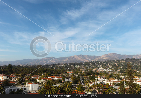 Santa Barbara stock photo, Santa Barbara skyline with mountains in the background. by Henrik Lehnerer