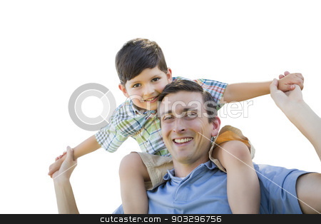Father and Son Playing Piggyback on White stock photo, Father and Son Playing Piggyback Isolated on a White Background. by Andy Dean