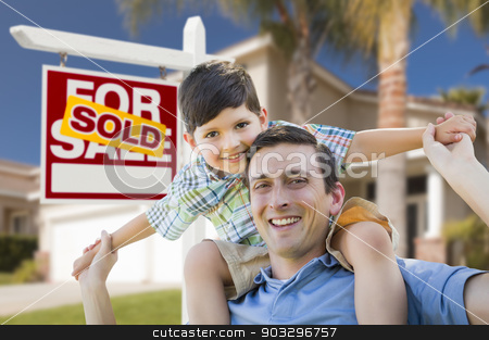 Mixed Race Father, Son Piggyback, Front of House, Sold Sign stock photo, Mixed Race Father and Son Celebrating with a Piggyback in Front Their House and Sold Real Estate Sign. by Andy Dean