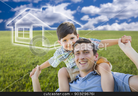 Father and Son Over Grass Field, Sky, Ghosted House Icon stock photo, Excited Mixed Race Father and Son Piggyback Over Grass Field, Sky and Ghosted House Icon. by Andy Dean