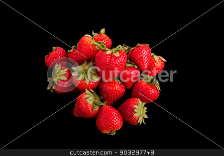 Red Strawberries on Black Background stock photo, Fresh, red, ripe strawberries on a black background by Darryl Brooks