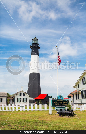 Tybee Island Lighthouse stock photo, Black and White lighthouse on Tybee Island, Georgia by Darryl Brooks