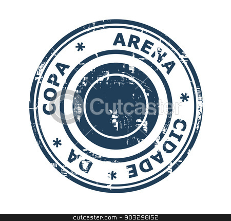 Arena Cidade da Copa stadium stamp stock photo, Arena Cidade da Copa stadium in Brazil grunge stamp isolated on a white background. by Martin Crowdy