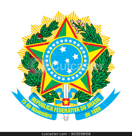 Brazil coat of Arms stock photo, Brazil coat of Arms isolated on a white background by Martin Crowdy