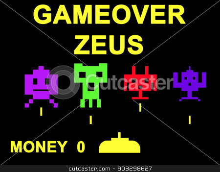 Gameover Zeus virus concept stock photo, Gameover Zeus virus concept using space invaders game. by Martin Crowdy