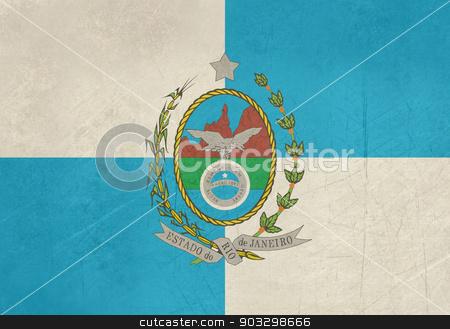 Grunge Rio De Janeiro state flag stock photo, Grunge state flag of Rio De Janeiro in Brazil.  by Martin Crowdy