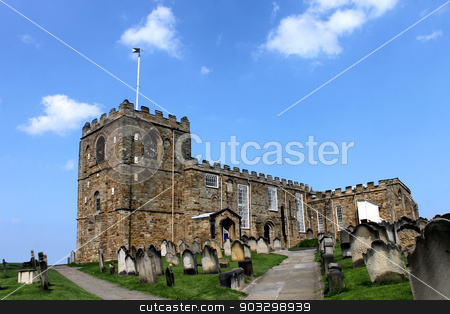Saint Marys church in Whitby stock photo, Saint Marys church in Whitby. North Yorkshire, England. by Martin Crowdy
