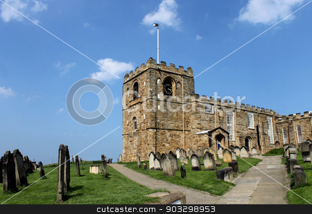 St. Marys church in Whitby stock photo, Scenic view of St. Marys church and graveyard in Whiby, North Yorkshire, England. by Martin Crowdy