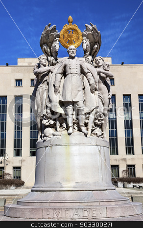 George Gordon Memorial Civil War Statue Pennsylvania Ave Washing stock photo, George Gordon Memorial Civil War Statue Pennsylvania Ave Washington DC Public Artwork given by the State of Pennsylvania.  Artist is Charles Grafly and Statue was dedicated in 1927.  General in Charge of Union at Gettysburg Battle. Residents of Pennsylvania paid for the statue, surrounded by six figures symbolizing the traits of a good general by William Perry