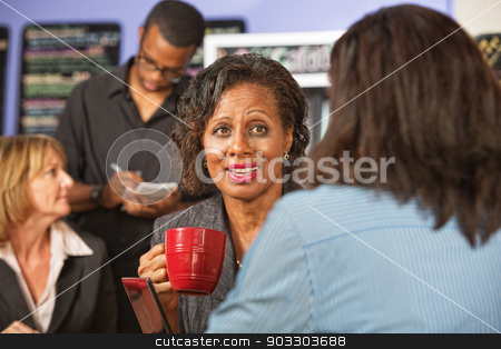 Mature Woman with Friend in Cafe stock photo, Cheerful mature woman drinking coffee with friend by Scott Griessel