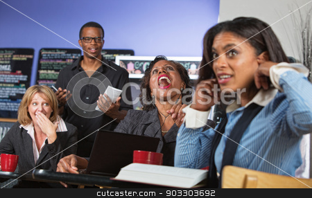 Loud Woman Singing stock photo, Business woman singing and annoying customers in cafe by Scott Griessel