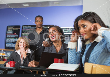 Annoying Singing Customer stock photo, Annoyed customers covering ears with woman singing out loud by Scott Griessel