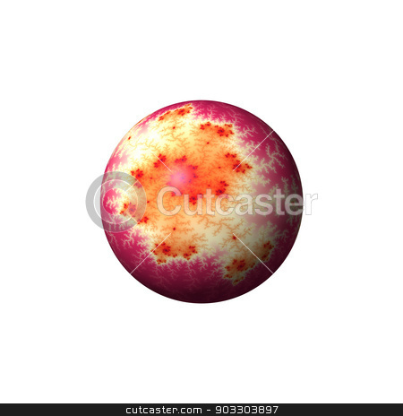 Golden Red Abstract Globe stock photo, A golden and red abstract fractal globe on white background. by Henrik Lehnerer