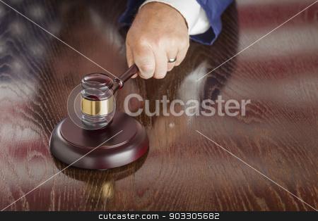Judge Slams Gavel and American Flag Table Reflection stock photo, Judge Slams His Gavel and American Flag Table Reflection. by Andy Dean