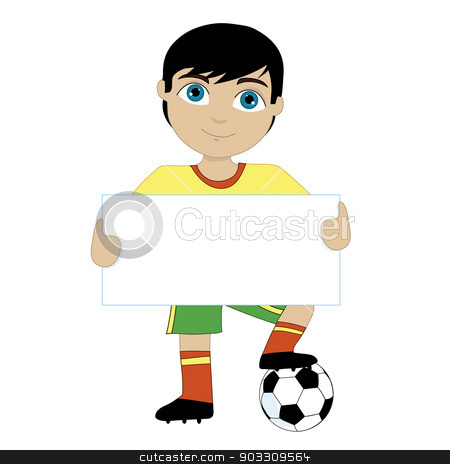 Soccer Boy stock vector clipart, A young boy holding a sign and with one foot on a soccer ball.  Change the colors to suit your team by Maria Bell