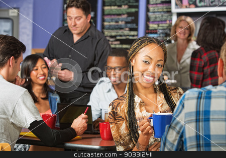 Cute Woman with Braids stock photo, Cute young African woman with braids with friend in cafe by Scott Griessel