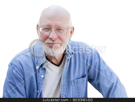 Handsome Senior Man Portrait on White stock photo, A Handsome Happy Senior Man Portrait Isolated on a White Background. by Andy Dean