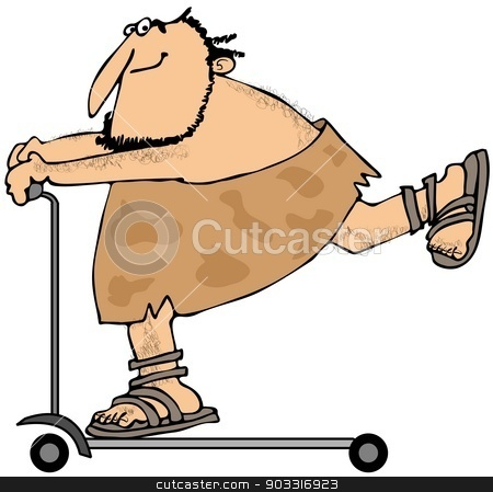 Caveman riding a scooter stock photo, This illustration depicts a caveman riding on a scooter. by Dennis Cox