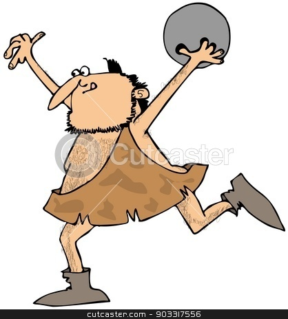 Caveman bowling stock photo, This illustration depicts a caveman throwing a bowling ball. by Dennis Cox