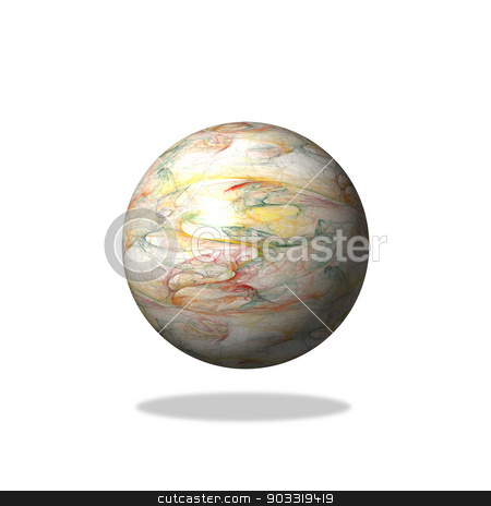 Abstract Light Fractal Globe stock photo, A light abstract fractal globe on white background with shade. by Henrik Lehnerer