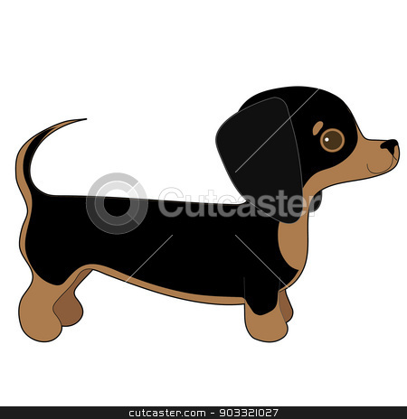 Dachshund stock vector clipart, A cartoon illustration of a Dachshund puppy by Maria Bell