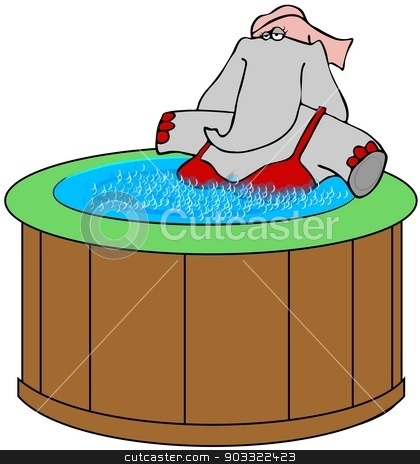 Elephant in a hot tub stock photo, This illustration depicts a female elephant wearing a swim suit and sitting in a bubbly hot tub. by Dennis Cox