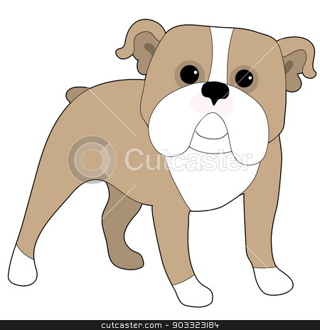 English Bulldog stock vector clipart, A cartoon illustration of an English Bulldog by Maria Bell