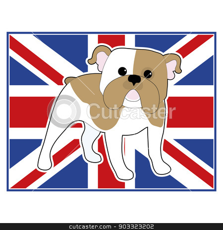 English Bulldog Flag stock vector clipart, A cartoon illustration of an English Bulldog with a British flag in the background by Maria Bell