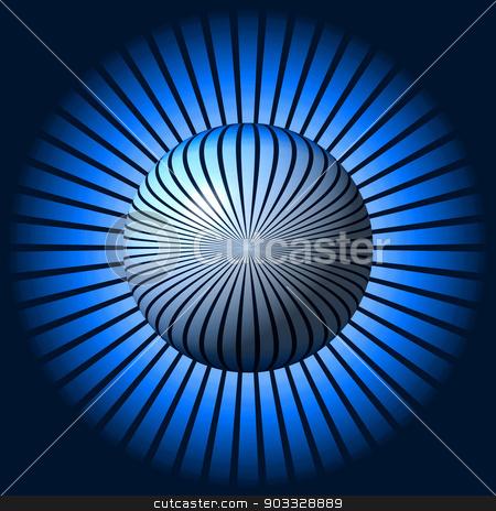 Blue Star Globe stock photo, Blue globe in front of a star shaped background. by Henrik Lehnerer