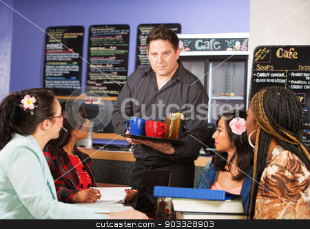 Server with Drinks stock photo, Coffee house server with drinks on tray for customers by Scott Griessel