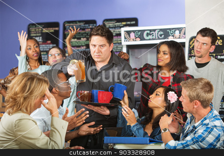 Stressed Out Waiter stock photo, Stressed out restaurant waiter with group of angry customers by Scott Griessel