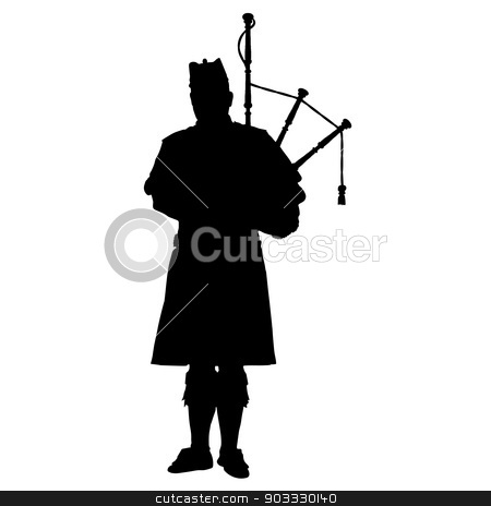 Scottish Piper stock vector clipart, A black silhouette of a Scottish piper playing the bagpipes by Maria Bell