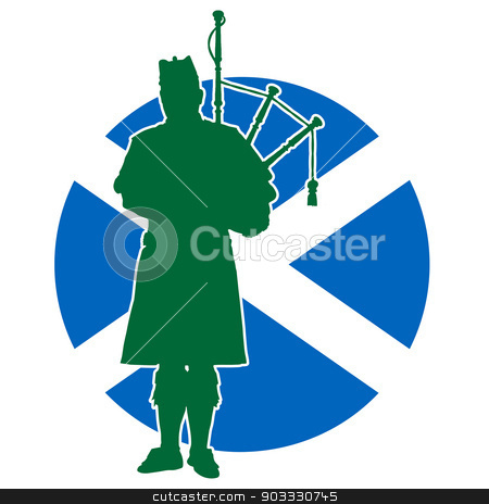 Scottish Piper Flag stock vector clipart, A silhouette of a Scottish piper playing the bagpipes. The Scottish flag is in the background by Maria Bell