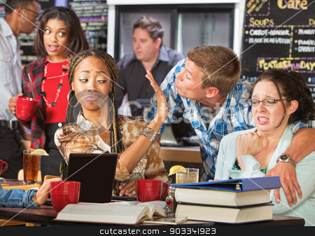Disgusted Students with Flirting Man stock photo, Disgusted pretty female students shuns flirting man by Scott Griessel