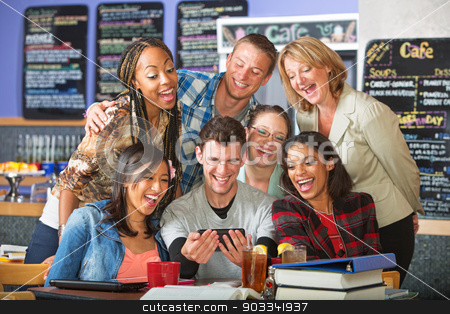Smiling Students with Camera Phone stock photo, Smiling group of diverse students with camera phone by Scott Griessel