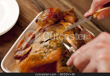 Man carving a delicious brown roast chicken stock photo, Close up view of the hands and utensils from above of a man carving a delicious brown roast chicken for dinner by Stephen Gibson