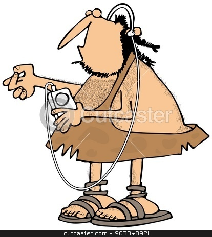 Caveman listening to his MP3 player stock photo, This illustration depicts a caveman with headphones listening to his music and snapping his finger. by Dennis Cox