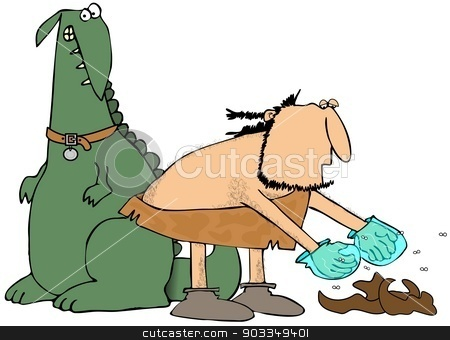 Caveman picking up pet poo stock photo, This illustration depicts a caveman stooping over to pick up his pet dinosaur's droppings. by Dennis Cox