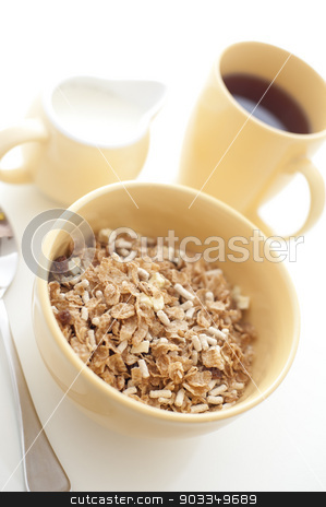 High key image of a healthy breakfast stock photo, High key image of a healthy wholesome breakfast with a bowl of muesli with a jug of milk and mug of freshly brewed filter coffee by Stephen Gibson