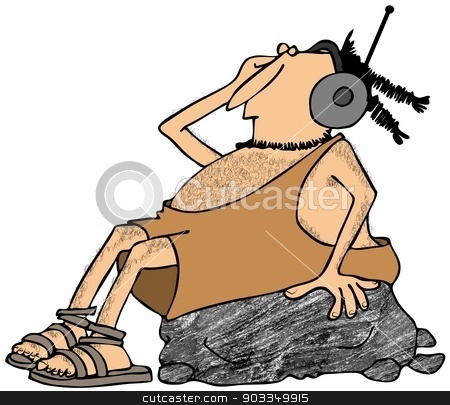Caveman rockin out stock photo, This illustration depicts a caveman sitting on a large rock while listening to headphones. by Dennis Cox