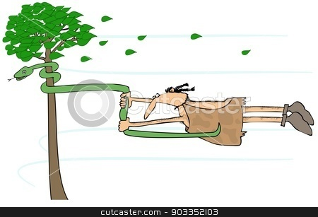Caveman in a high wind stock photo, This illustration depicts a caveman blowing sideways in a high wind holding on to a snake that is coiled around a tree. by Dennis Cox