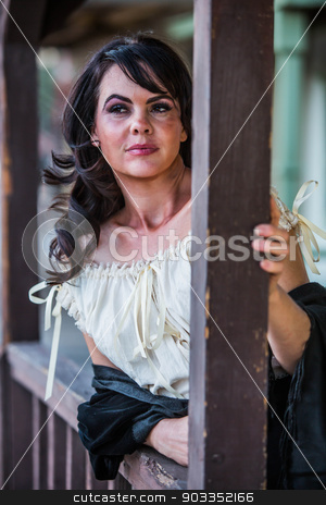 Saloon Girl Portrait stock photo, Portrait of an old west saloon girl by Scott Griessel