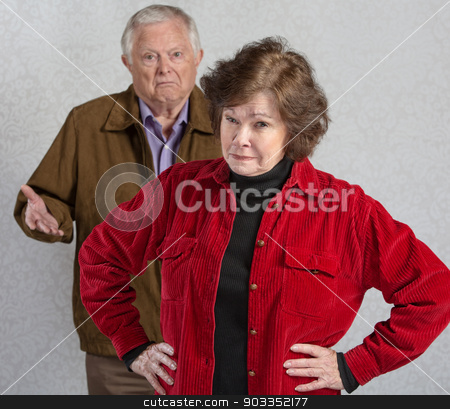 Bickering Senior Couple stock photo, Suspicious senior woman in front of confused man by Scott Griessel