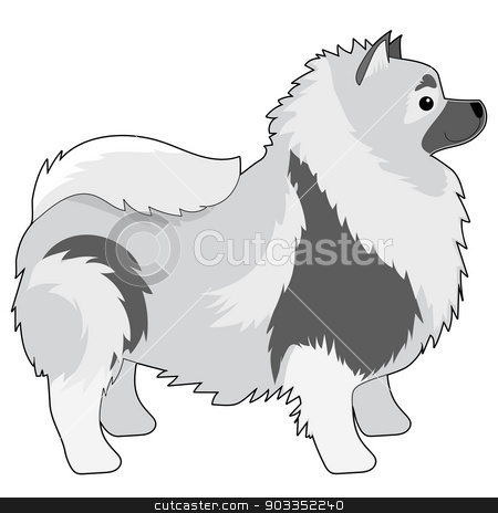 Keeshond stock vector clipart, A cartoon illustration of a Keeshond by Maria Bell