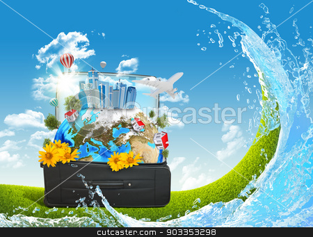 Earth with buildings and trees in travel bag stock photo, Earth with buildings, trees and green grass in travel bag. Elements of this image are furnished by NASA by cherezoff